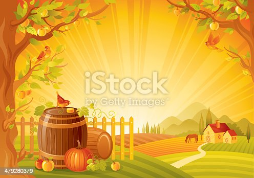 Beautiful autumn rural landscape with apple trees, small birds, wine barrels, pumpkin and other vegetebles. Background with farmhouse, horse and mountains. Copyspace. CDR-11, AI 10, JPG.