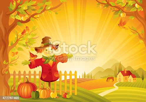 Beautiful autumn rural landscape with scarecrow,  pumpkin and other vegetebles. Background with farmhouse, horse and mountains. Copyspace. CDR-11, AI 10, JPG.