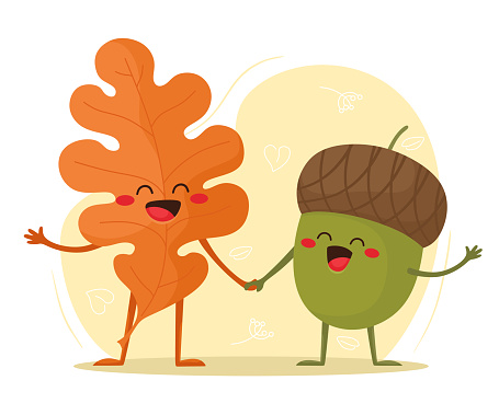 Autumn leaf and acorn together. Hello, Autumn. Vector illustration in flat cartoon style.