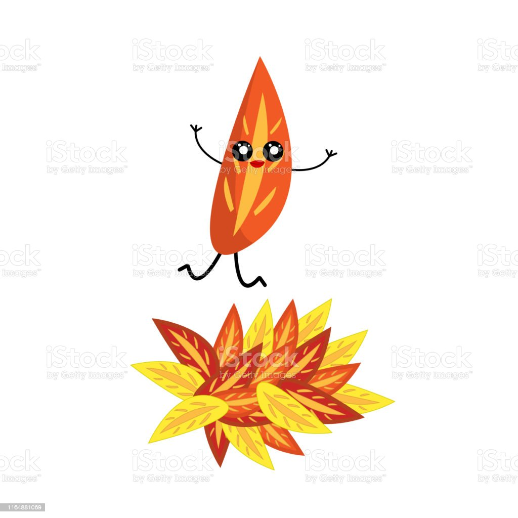 Autumn Leaf Cartoon Character Jumping Into A Pile Of Fallen Leaves Stock Illustration Download Image Now Istock