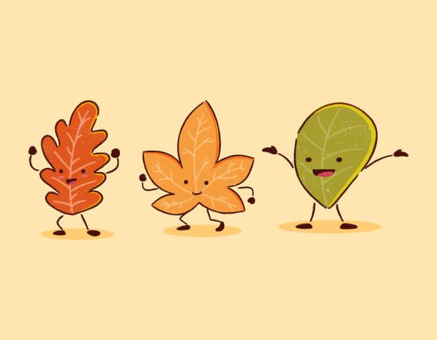 bildbanksillustrationer, clip art samt tecknat material och ikoner med höstlöv karaktär - children autumn