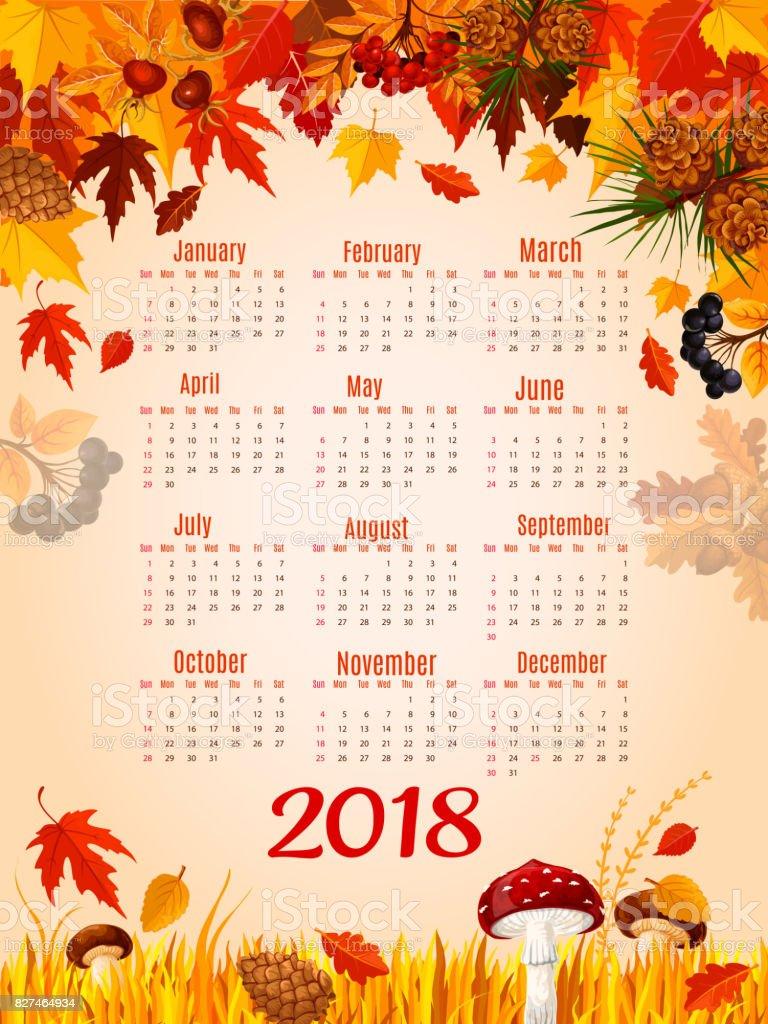 autumn leaf fall vector 2018 calendar template stock vector art