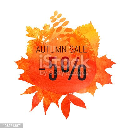 istock Autumn leaf foliage watercolor. Autumn sale - 5 off . Fall sale. Web banner or poster for e-commerce, on-line cosmetics shop, fashion beauty shop, store. Vector illustration. EPS 10 1285743871