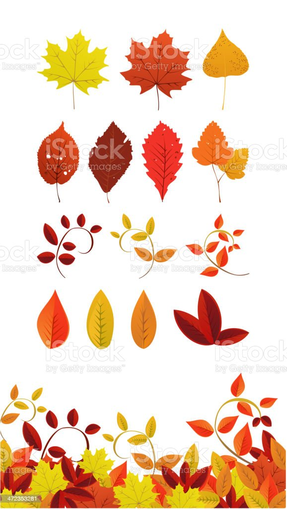 Autumn Leaf Icons royalty-free stock vector art
