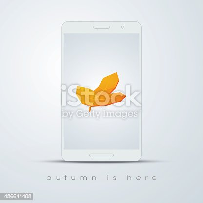 Autumn leaf on smartphone screen. Foliage symbol on phone screen. 3d realistic object. Eps10 vector illustration