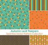 Autumn Leaf Peeper Seamless Vector Pattern Collection