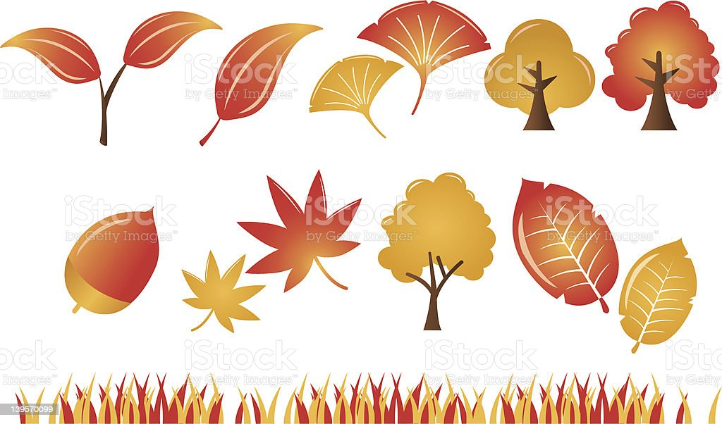 Autumn Leaf plant tree Icons Set royalty-free stock vector art