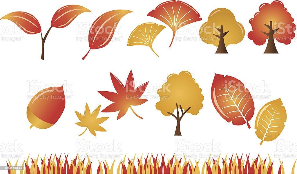 Autumn Leaf plant tree Icons Set vector art illustration