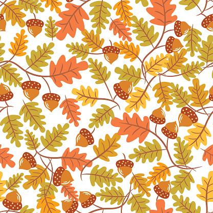 Autumn leaf seamless pattern .