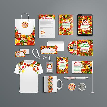 Autumn leaf stationery promo supplies vector set