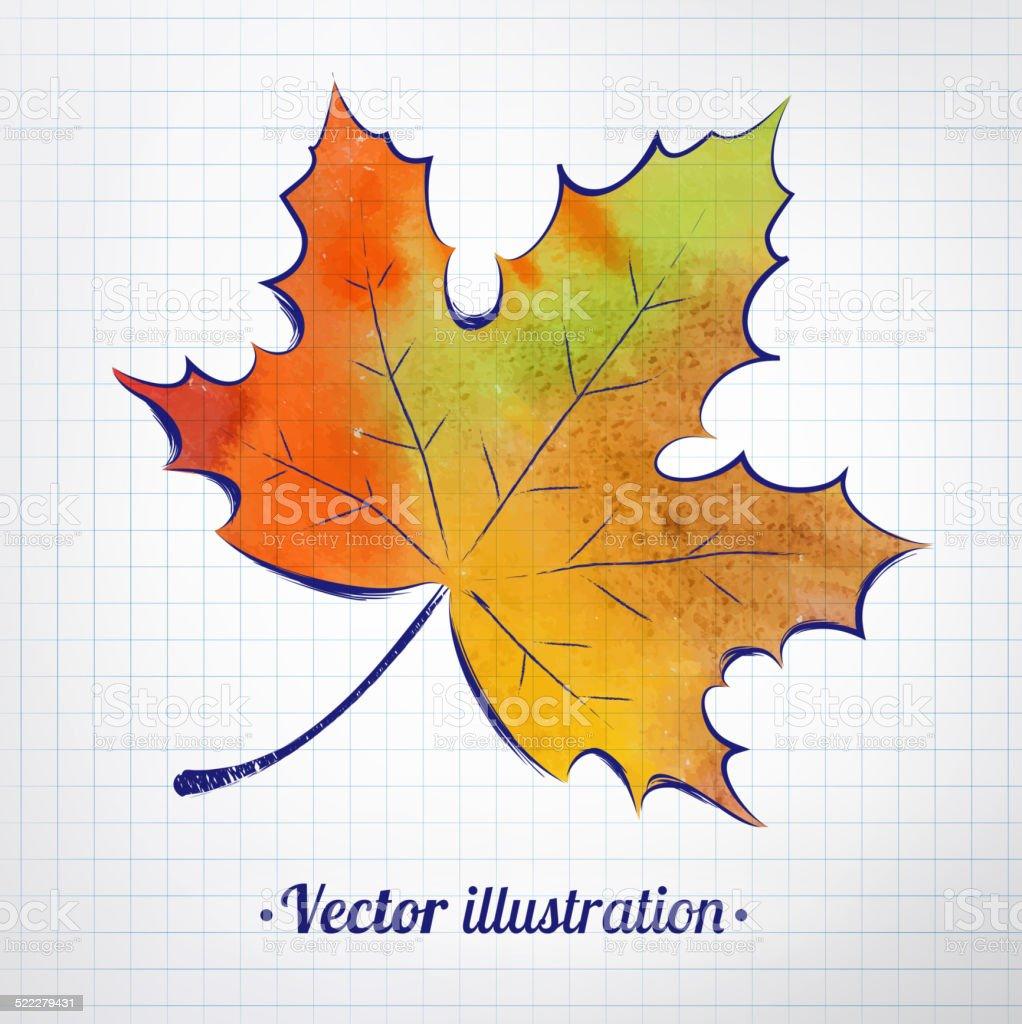 Herbst Blatt Mit Aquarell Struktur Der Auf Kariertes Papier Stock