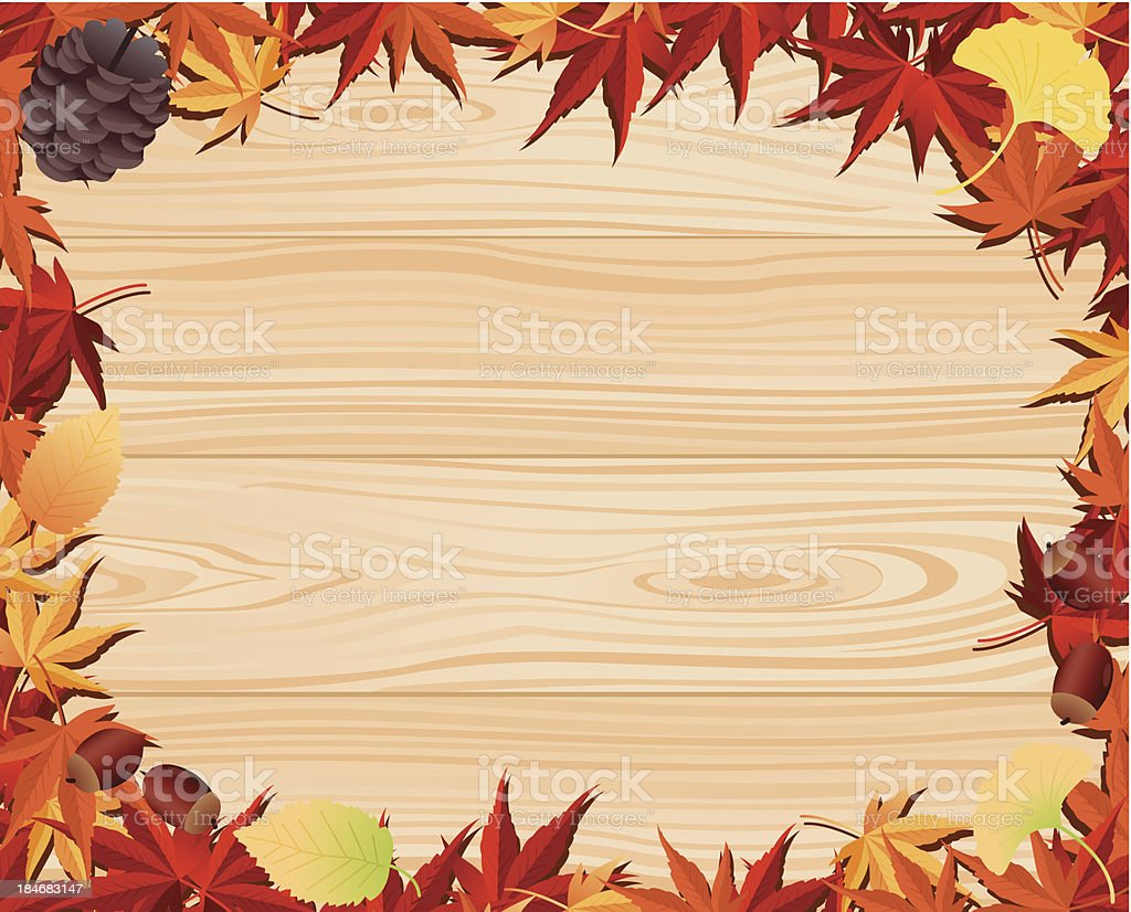 Autumn leaf & wooden board royalty-free stock vector art