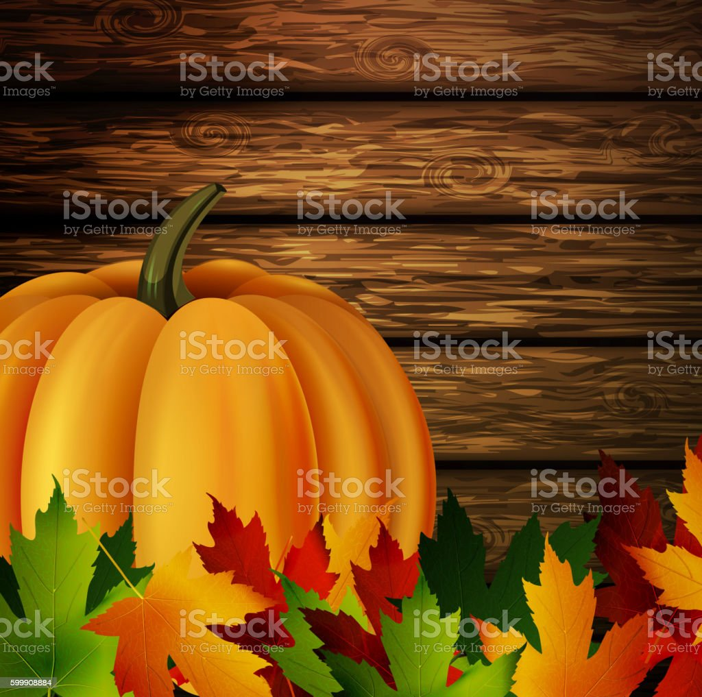 Autumn leaves and pumpkin on wooden texture vector art illustration