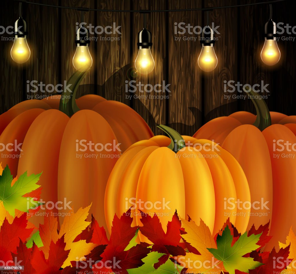 Autumn leaves and pumpkins on wooden texture vector art illustration