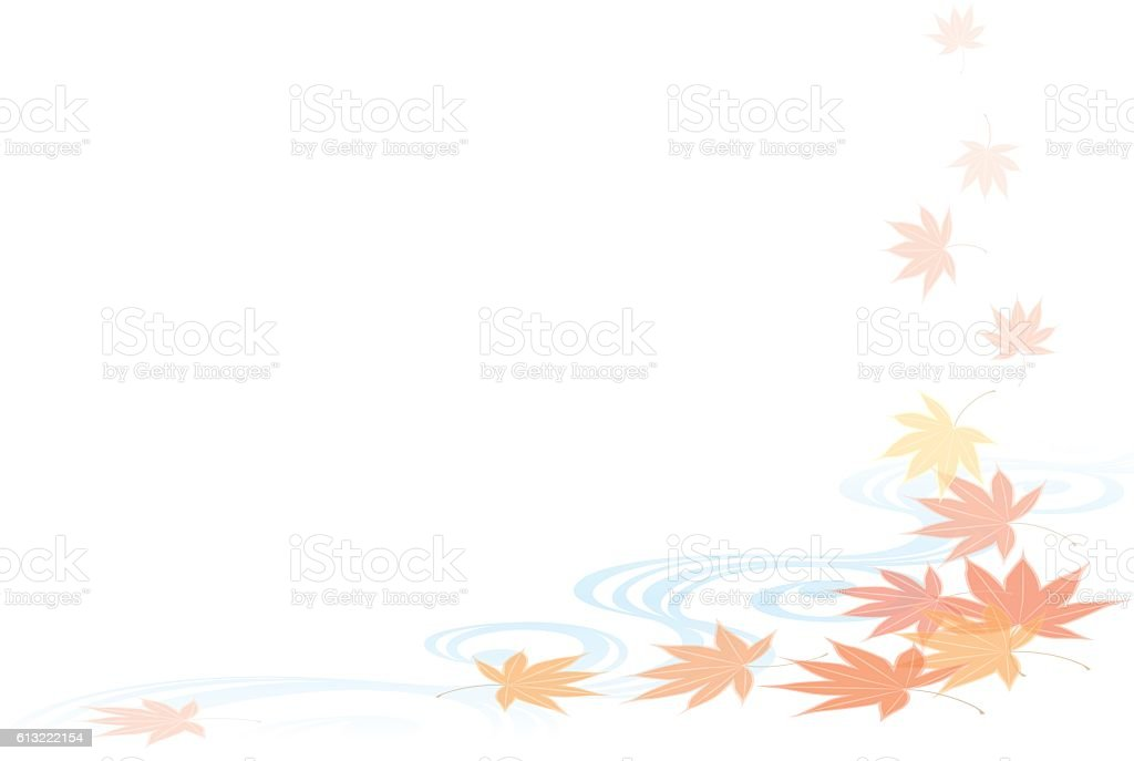 Autumn leaves and water patterns. Japanese-style. vector art illustration