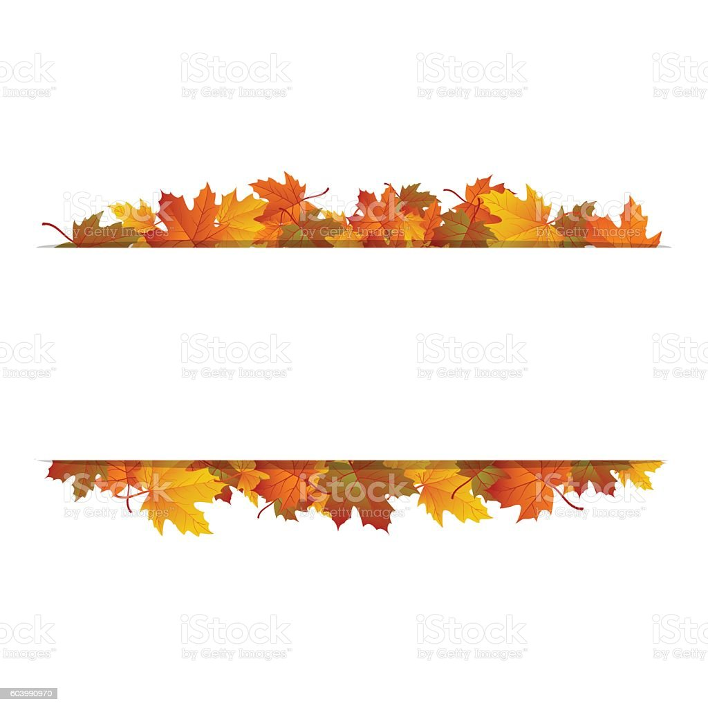 Autumn leaves around blank rectangle. Vector banner - illustrazione arte vettoriale