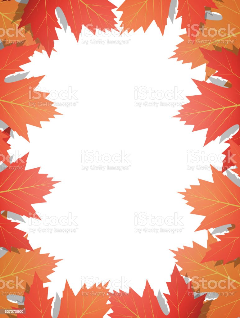 autumn leaves background frame of vector maple leaves template for