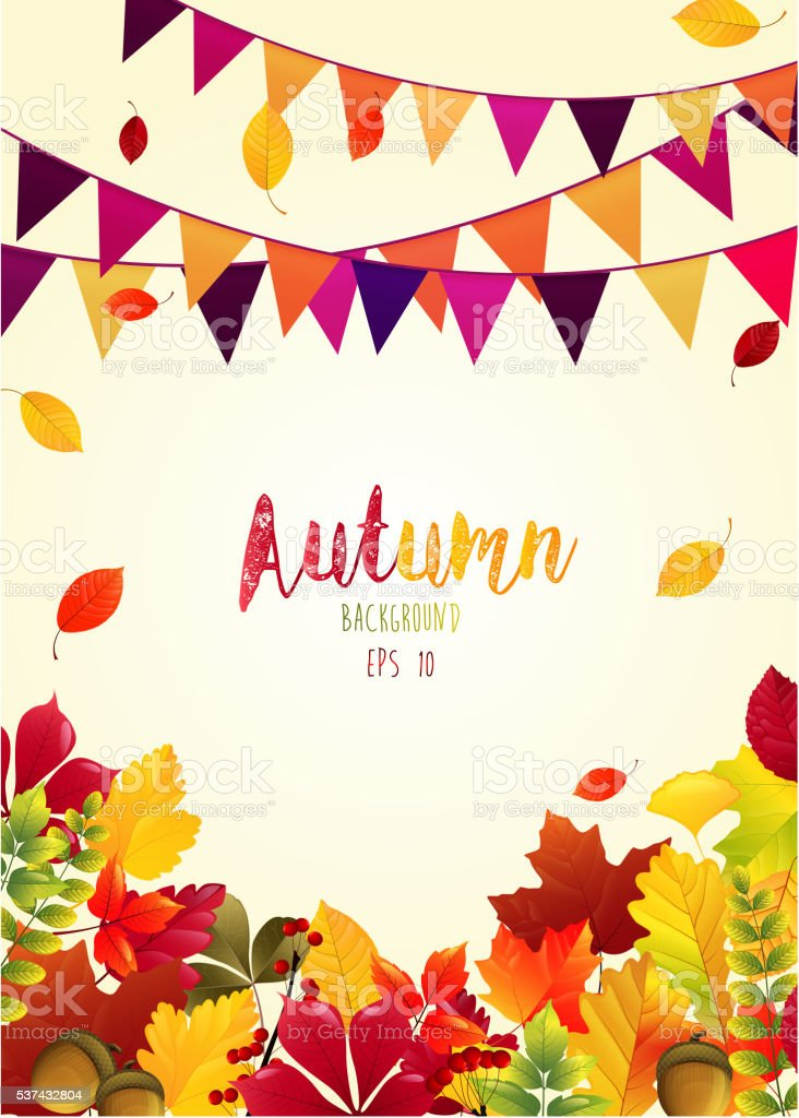 Autumn leaves background with party flags vector art illustration