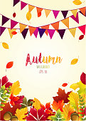 Autumn leaves background with party flags