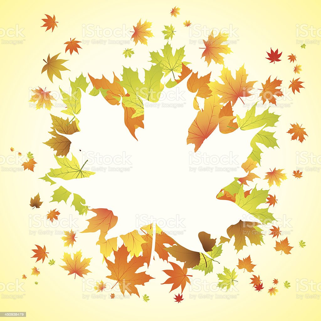 Autumn leaves background with text space royalty-free stock vector art