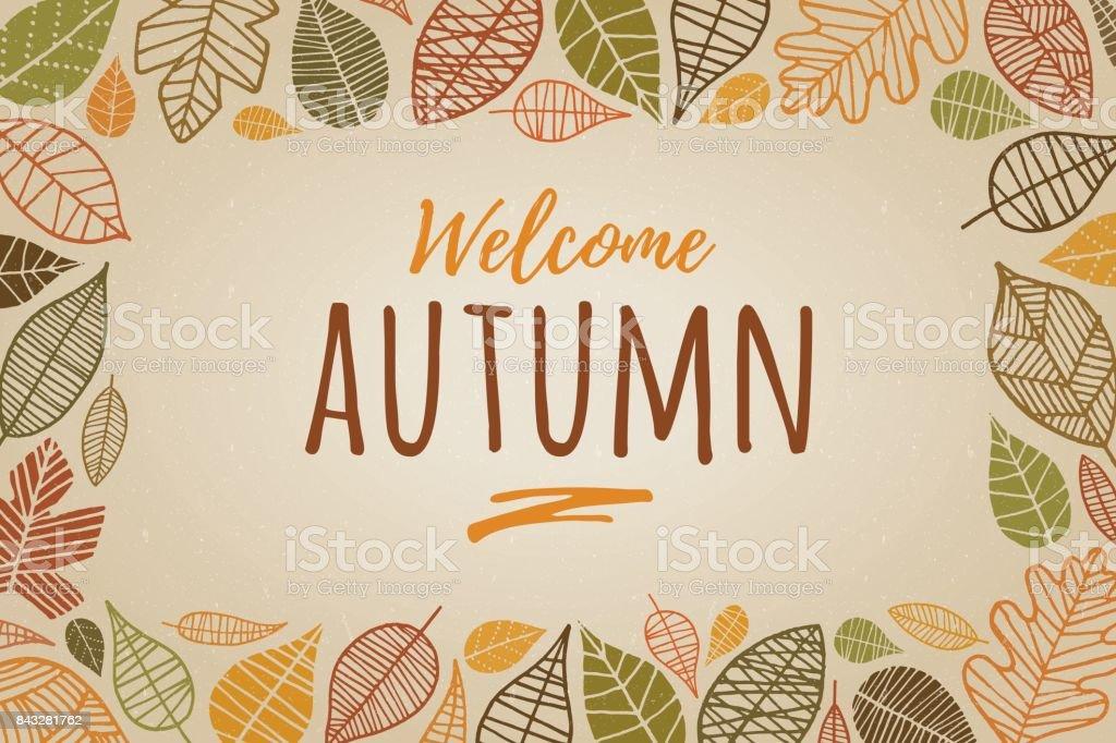 Autumn Leaves Border - Illustration vector art illustration
