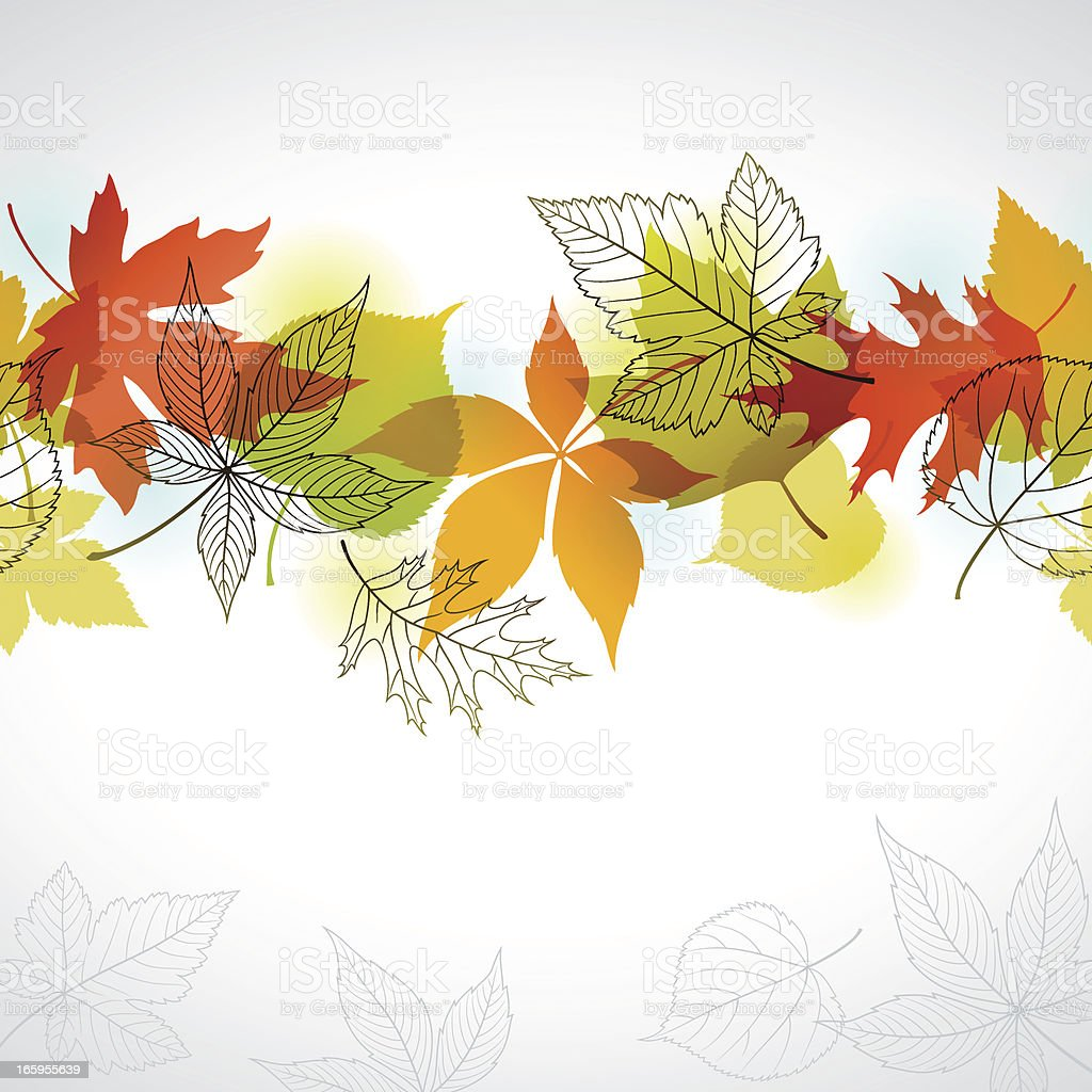 Autumn Leaves Border vector art illustration