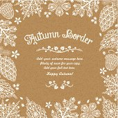 Stylized Autumn Border on a Brown Kraft Paper Background.
