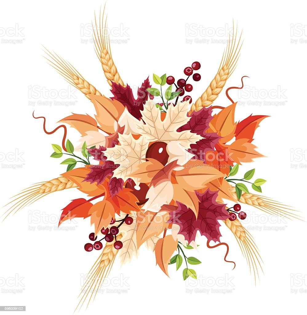 Autumn leaves bouquet. Vector illustration. royalty-free autumn leaves bouquet vector illustration stock vector art & more images of arts culture and entertainment
