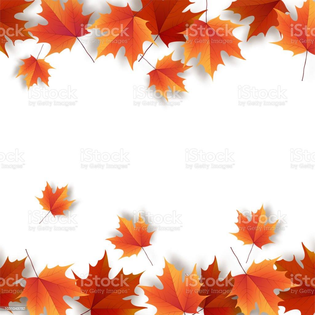 秋の紅葉明るいカラフルな秋カシの葉テンプレート イラストレーション