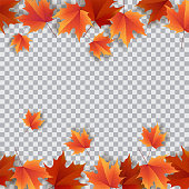 Autumn leaves. Bright colourful autumn oak leaves. Template for placards. Seasonal sale in shop. Vector Illustration