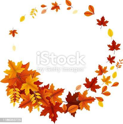 autumn leaves circular banner design copy space