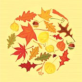 Autumn leaves with lady bug on yellow background (maple leaf, oak leaf, lime leaf, chestnut) . Seamless Vector. EPS 8.
