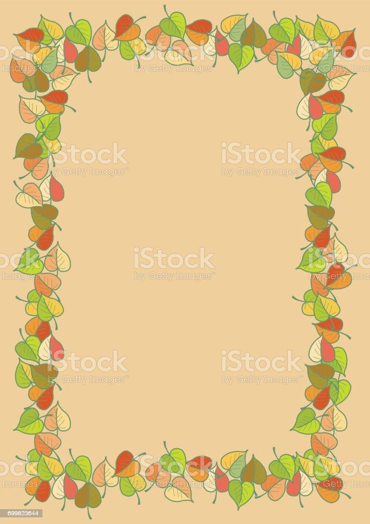 Blätter Im Herbst Farbige Muster A4 Rahmen Stock Vektor Art und mehr ...