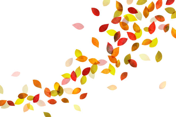 autumn leaves dancing (watercolor pencil texture) - autumn stock illustrations