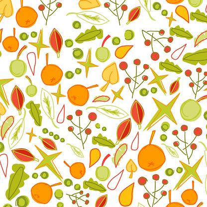 Autumn Leaves Doodle Seamless Background Pattern