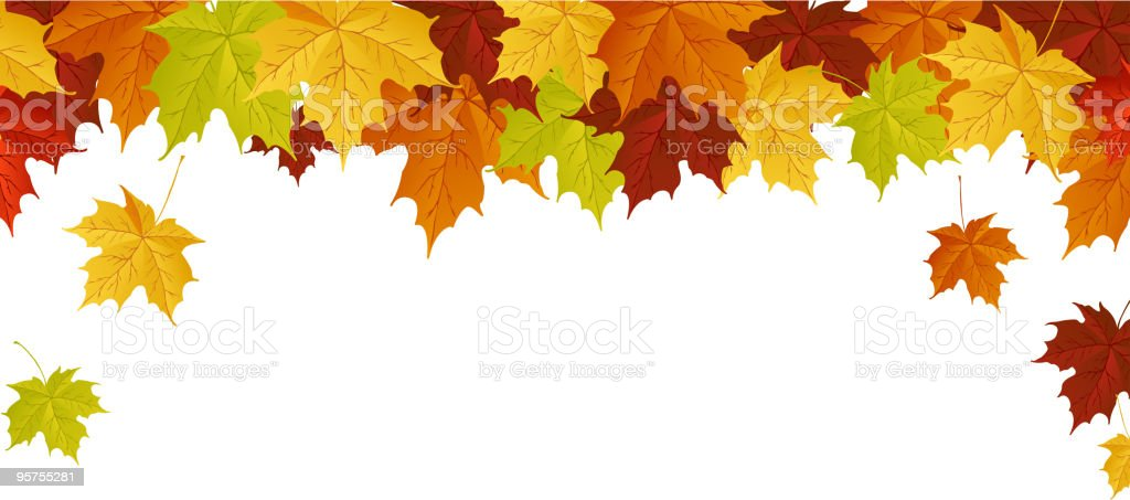 Autumn leaves falling from the sky royalty-free stock vector art