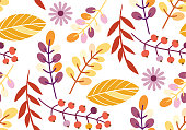 Autumn leaves flat design pattern background