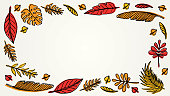 Orange yellow autumn leaves frame background with copy space
