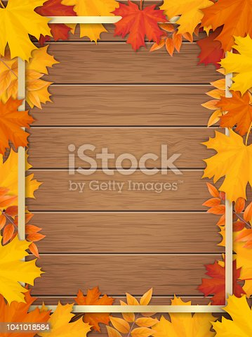 Golden frame decorated of fallen maple leaves. Autumn foliage on the background of a wooden vintage table surface. Realistic vector. Template for a seasonal sale, invitation or advertisement card.