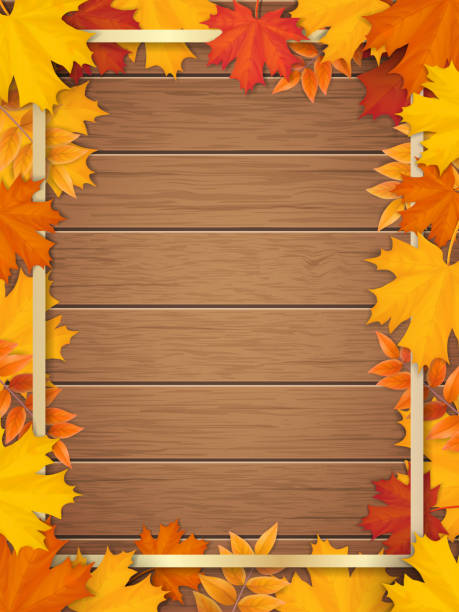 autumn leaves golden frame wooden background Golden frame decorated of fallen maple leaves. Autumn foliage on the background of a wooden vintage table surface. Realistic vector. Template for a seasonal sale, invitation or advertisement card. fall background stock illustrations