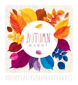 Autumn leaves card for events and sales with round label on grunge background without gradient fills.