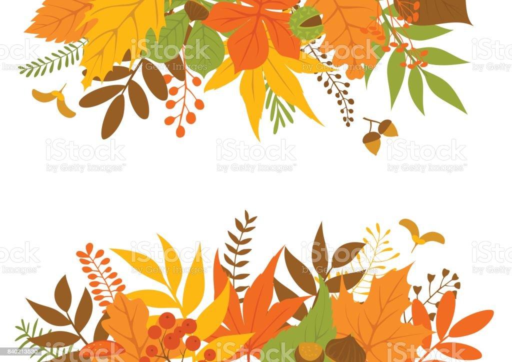 autumn leaves header and border frame background stock vector art