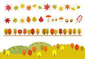 Autumn leaves icon and mountain Landscape Illustration set