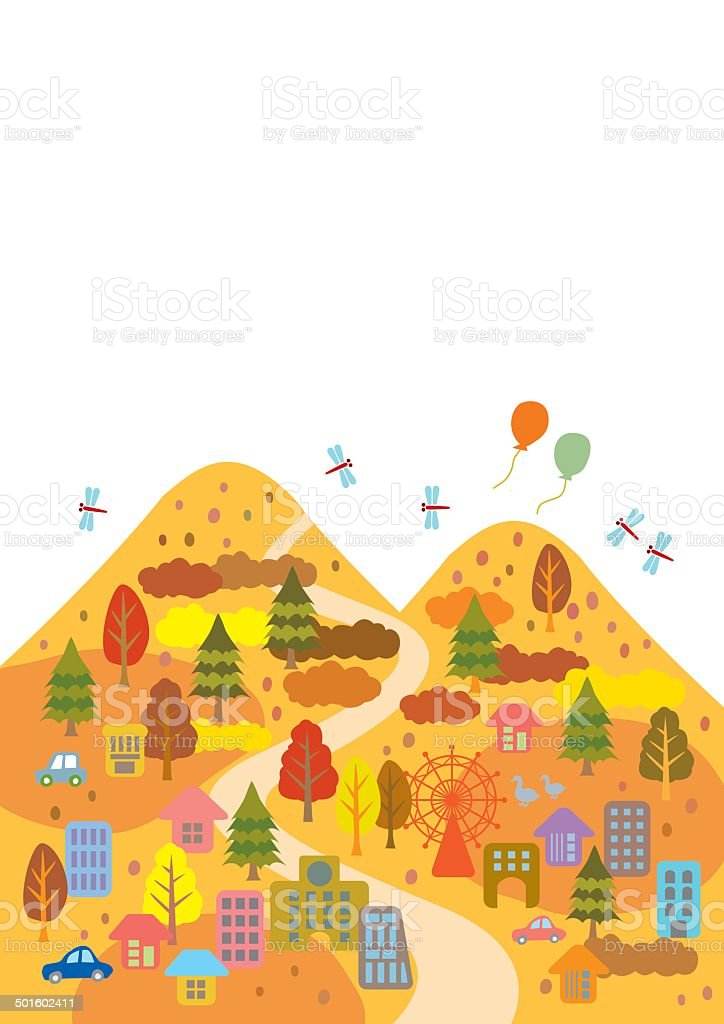 Autumn Leaves is a beautiful town vector art illustration