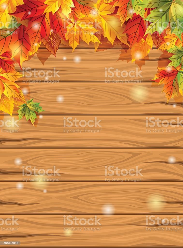 Autumn leaves on the background of bright wooden planks, maple Lizenzfreies autumn leaves on the background of bright wooden planks maple stock vektor art und mehr bilder von alt