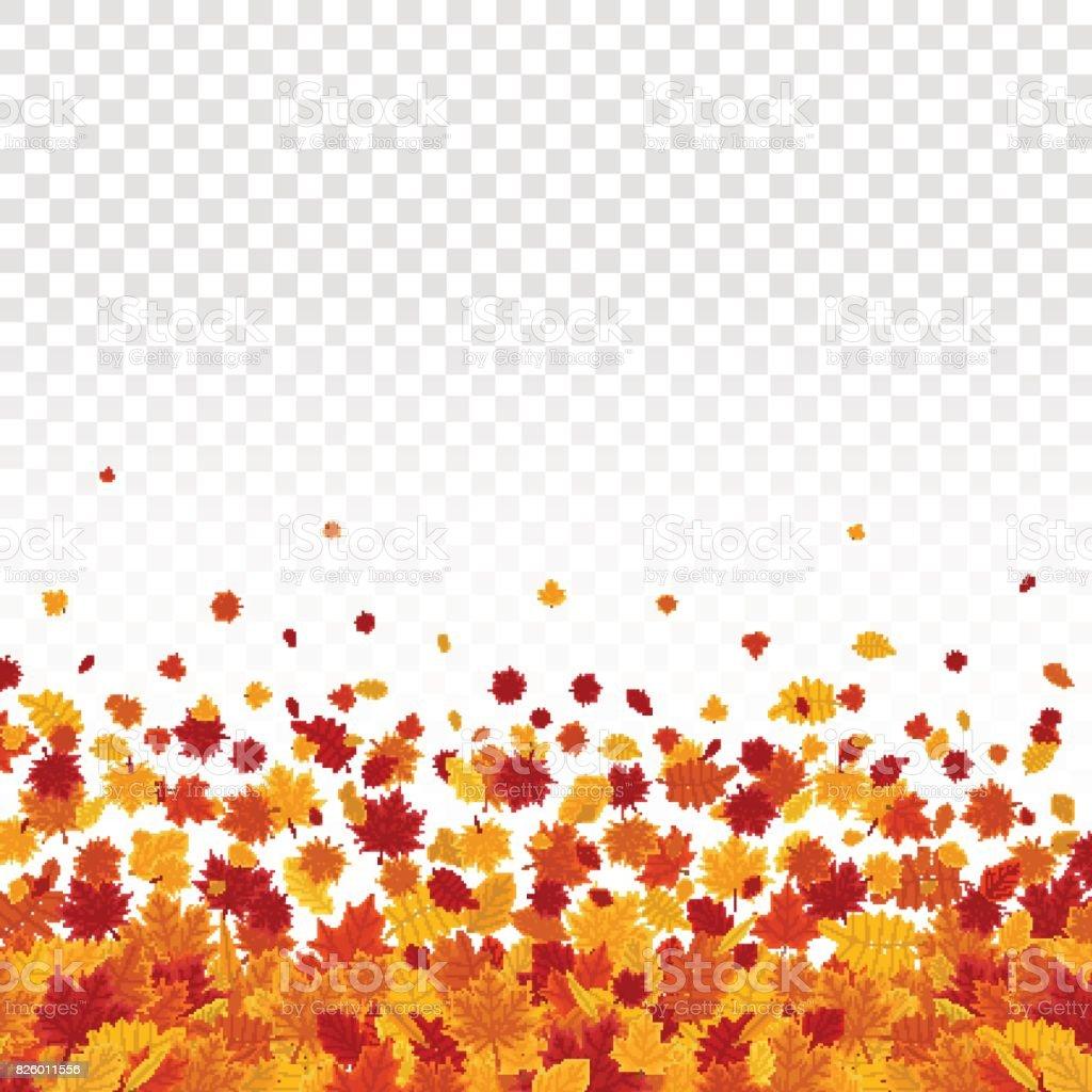 Autumn leaves on transparent background. vector art illustration