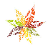 Autumn leaves ornament. Flower shaped decoration. Colorful leaf silhouettes with doodle ornate texture on white background.