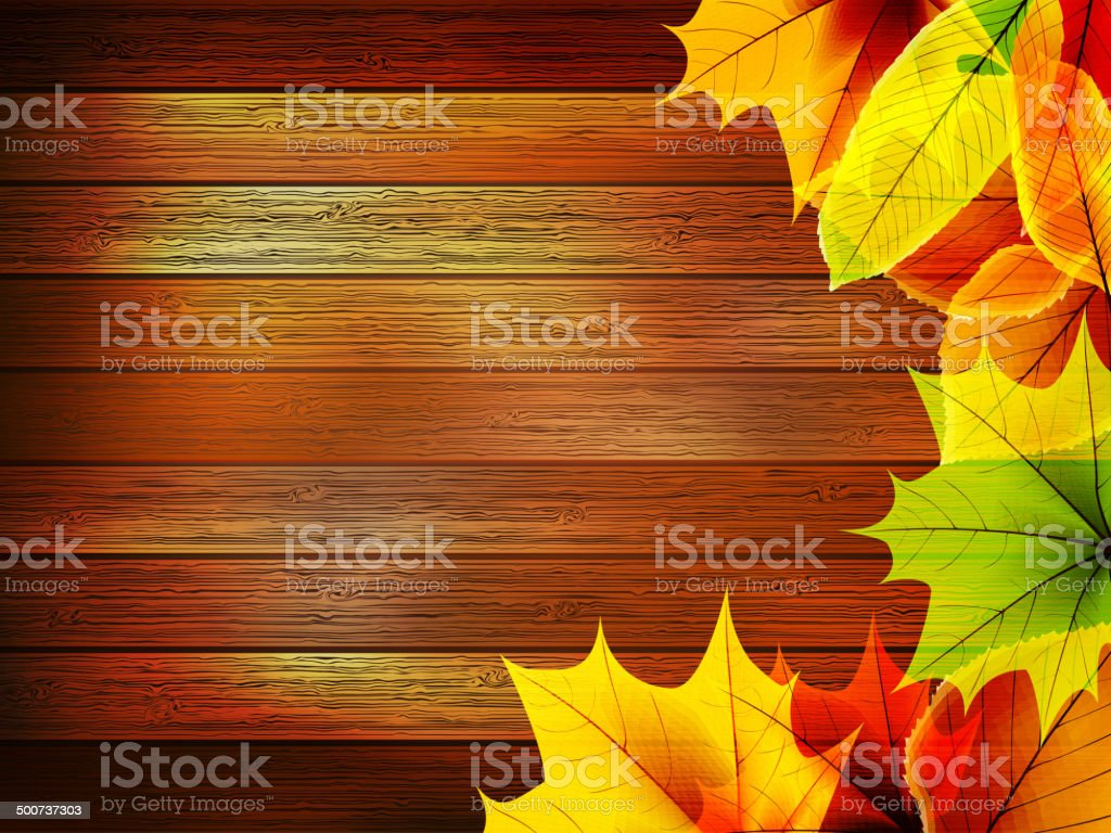 Autumn leaves over old wooden. plus EPS10 royalty-free autumn leaves over old wooden plus eps10 stock vector art & more images of at the edge of