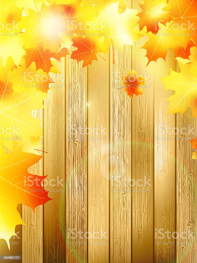 Autumn Leaves over wooden background. EPS10 royalty-free autumn leaves over wooden background eps10 stock vector art & more images of at the edge of