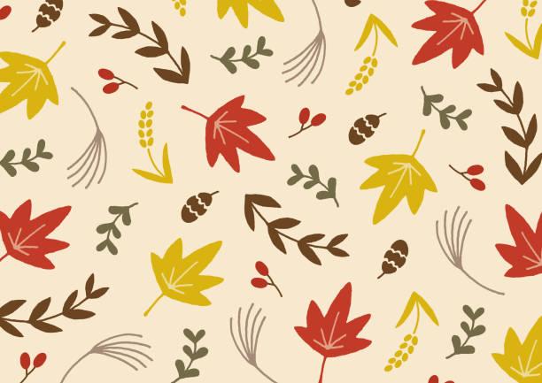 illustrazioni stock, clip art, cartoni animati e icone di tendenza di autumn leaves pattern - miscanthus sinensis